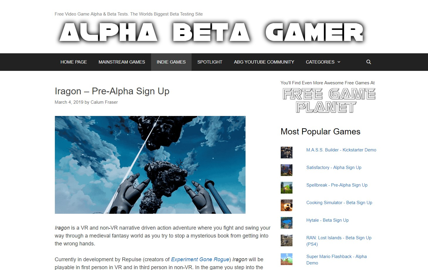"Alpha Beta Gamer on Iragon: ""Even in these early stages of"